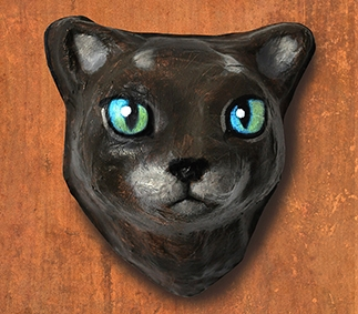 Black cat|papier mâché|fait main